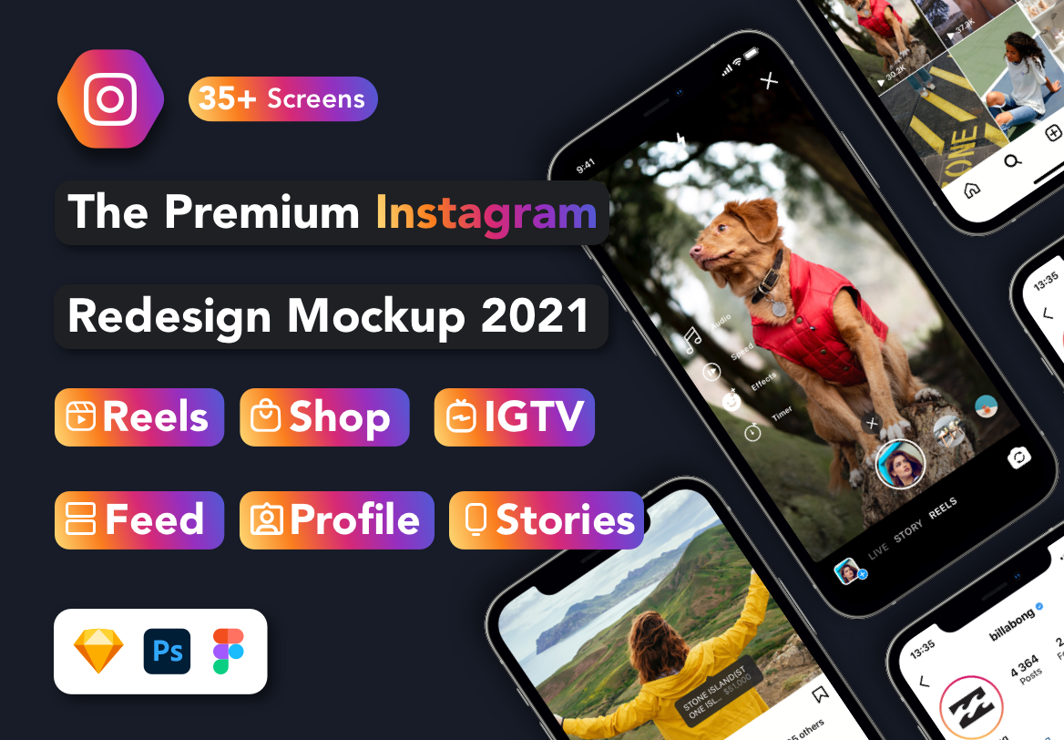 Instagram mockup download psd figma sketch